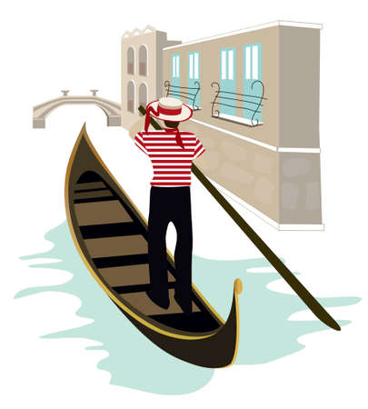 european culture: Gondolier of Venice Illustration