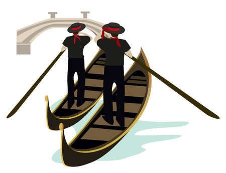 gondolier: Gondoliers of Venice Illustration