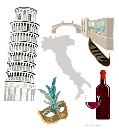 pisa tower: Symbols of Italy