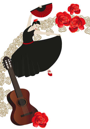 Illustration of a flamenco dancer holding a fan, guitar and roses