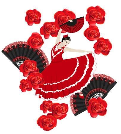 danseuse flamenco: Illustration d'une danseuse de flamenco avec des ventilateurs et des roses