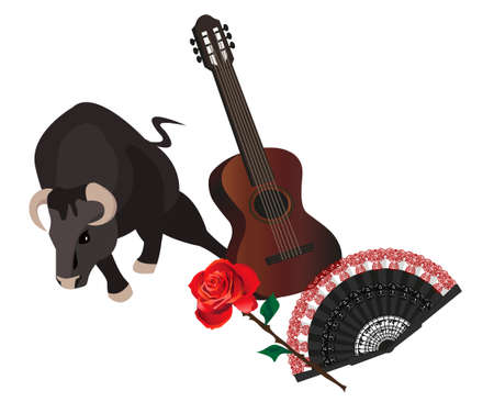 Illustration with a bull, guitar, fan and rose Stock Vector - 9572456
