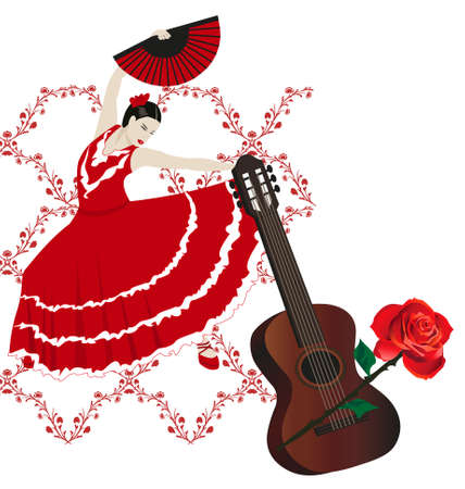Illustration of a flamenco dancer with a fan, rose and guitar