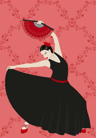 Illustration of a flamenco dancer holding a fan Vector
