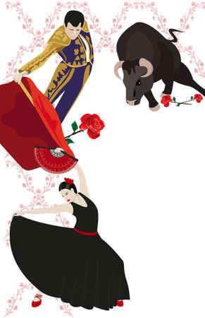danseuse flamenco: Illustration d'une lutte contre le matador, avec un taureau et une danseuse de flamenco Illustration