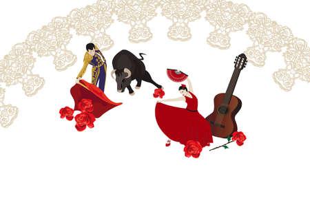 matador: Illustratie met een matador, flamencodanseres en Spaanse gitaar