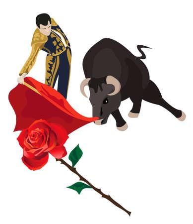 matador: Illustratie van een matador gevecht met een stier Stock Illustratie