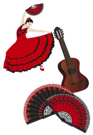 ファンを保持しているフラメンコ ダンサーのイラスト