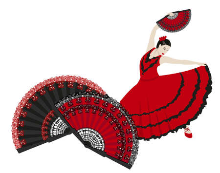 Illustration of a flamenco dancer holding a fan Stock Vector - 9572465