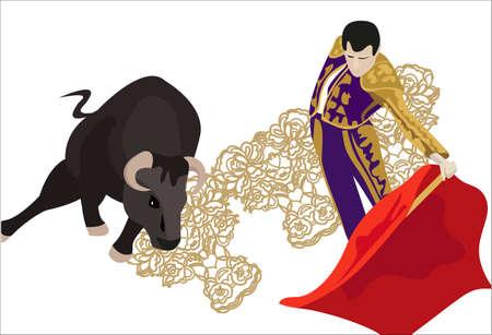 matador: Illustratie van een matador vechten met een stier