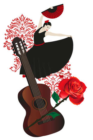 Illustration of a flamenco dancer holding a fan and guitar Vector