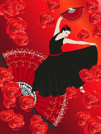 gypsies: Illustration of a flamenco dancer holding a fan