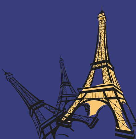 Abstract background illustration with Eiffel Tower sketch  Vector