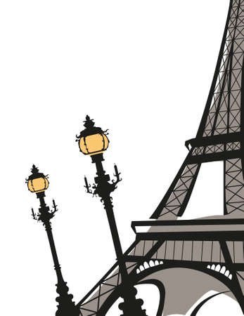 sightseeing: Abstract background illustration with Eiffel Tower sketch