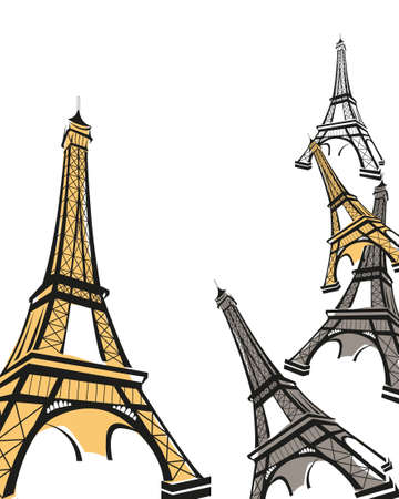 Abstract background illustration with Eiffel Tower sketch  Stock Vector - 9812069