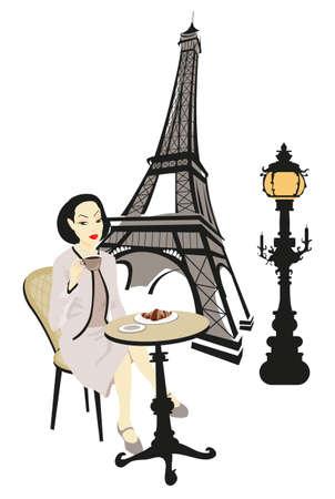 Torre Eiffel y una mujer sentada en un café de París   Vectores