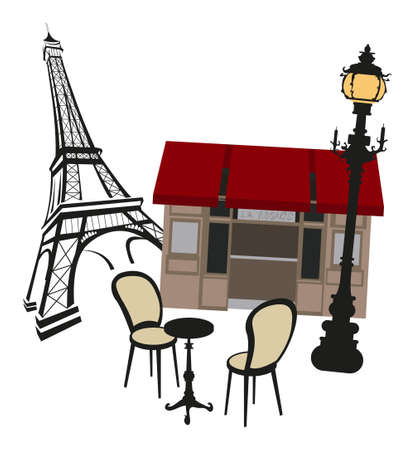 clipart street light: Eiffel tower sketch with a street lamp and a cafe