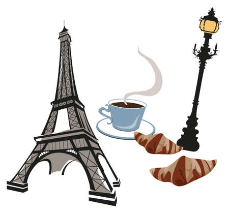 Eiffel tower, street lamp, coffee and croissant
