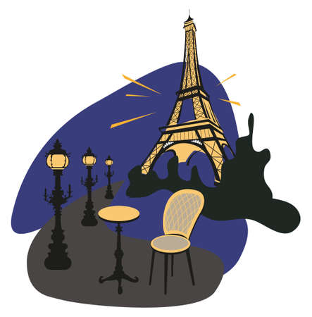 Paris urban view at night with Eiffel tower  Vector