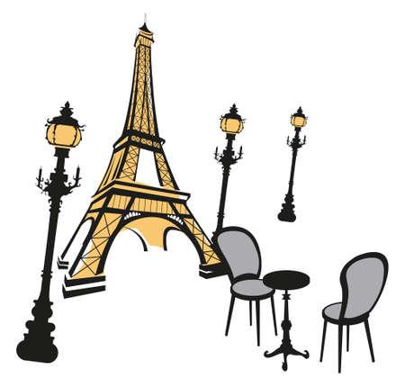 Eiffeltoren schets met straatverlichting op wit  Vector Illustratie