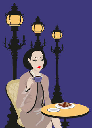 Woman sitting outside a cafe, drinking and eating  Vector