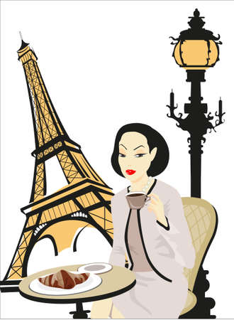 Eiffel Tower and a Woman sitting in a cafe in Paris  Illustration