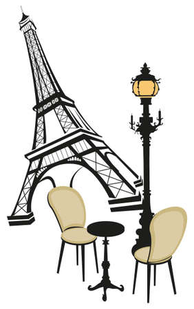 french culture: Eiffel tower, street lamp and a coffee table with chairs Illustration