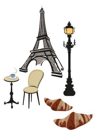 Torre Eiffel, lámpara de calle y café y croissant