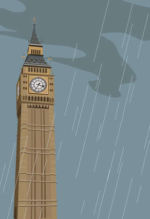 Illustration of Big Ben clock tower in London  Vector