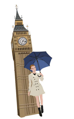 lady clock: Illustration of Big Ben tower and a woman with an umbrella  Illustration