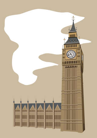 clock tower: Illustration of Big Ben clock tower in London  Illustration