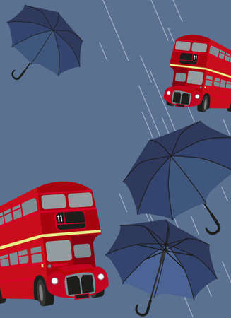city of london: Illustration of London buses with umbrellas