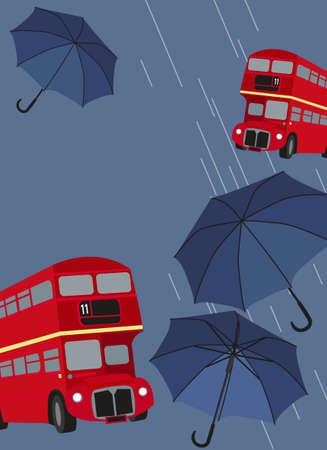 londres autobus: Ilustraci�n de los autobuses de Londres con paraguas