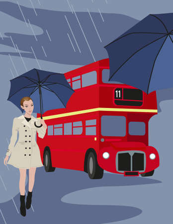 Illustration of London buses and a woman with umbrella  Vector
