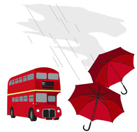 english bus: Illustration of London buses with umbrellas