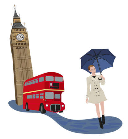 Illustration of Big Ben tower, London buses and a woman with an umbrella  Vector