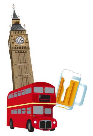 big ben: Illustration of Big Ben tower, London bus and beer  Illustration
