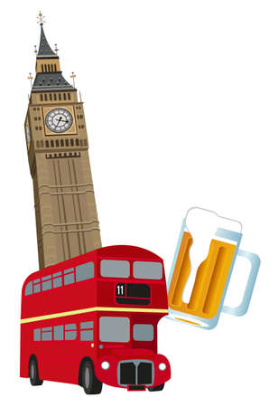 londres autobus: Ilustraci�n de la Torre del Big Ben, autob�s de Londres y cerveza  Vectores