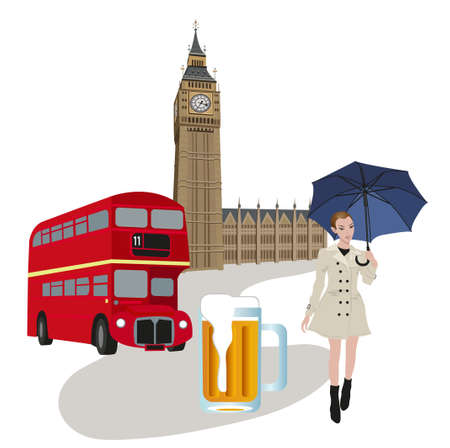 Illustration of Big Ben tower, London buses, beer and a woman with an umbrella