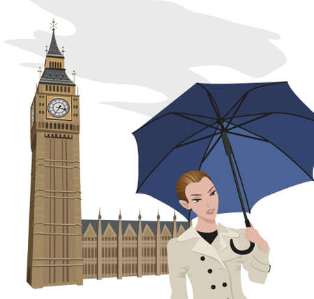bigben: Illustration of Big Ben tower and a woman with an umbrella  Illustration