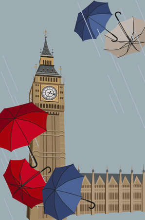 english famous: Illustration of Big Ben tower with umbrellas  Illustration