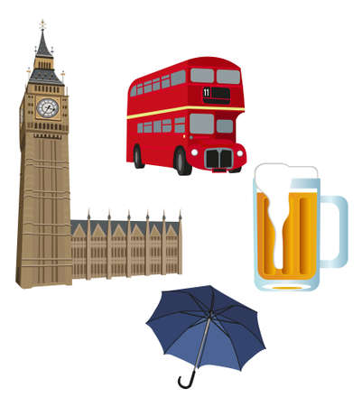Illustration of Big Ben tower, London buses, beer and an umbrella  Stock Vector - 9812132
