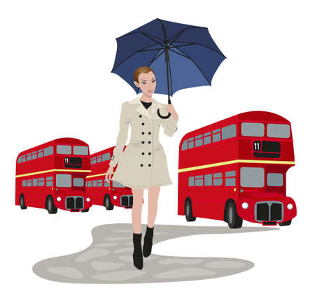 Illustration of London buses and a woman with umbrella Stock Vector - 9812084