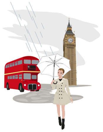 Illustration of Big Ben tower, London buses and a woman with an umbrella Stock Vector - 9812082