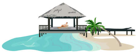 chaume: Maldives Island Resort illustration isol� sur fond blanc