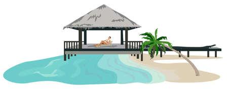 Maldives island resort illustration isolated on white background  Vector
