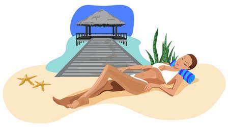 chaume: Illustration d'une femme se d�tendre sur la plage