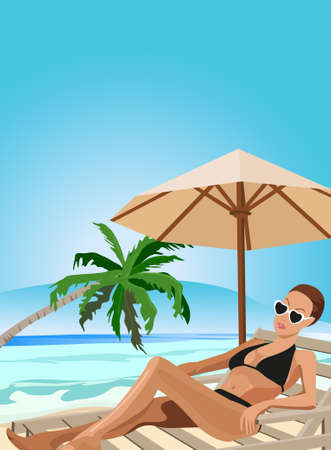 Illustration of a woman chilling out on the beach Stock Vector - 9931334