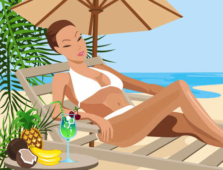 sunbath: Illustration of a woman chilling out on the beach