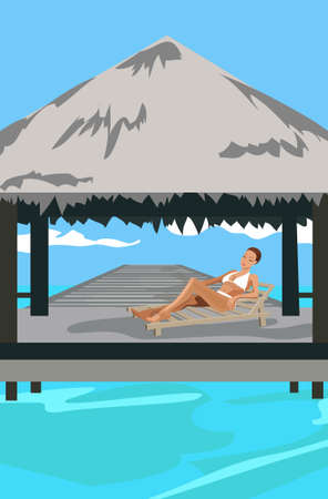 Illustration of a woman at Maldives island resort Vector